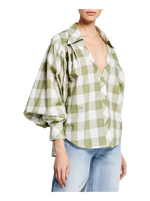 Johanna Ortiz French Inhale Blouson Sleeve Plaid Button-Front Top