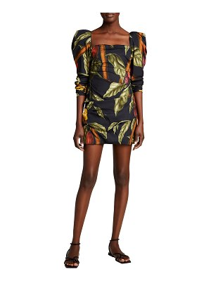Johanna Ortiz Gathering Nature Ruched Floral Mini Dress