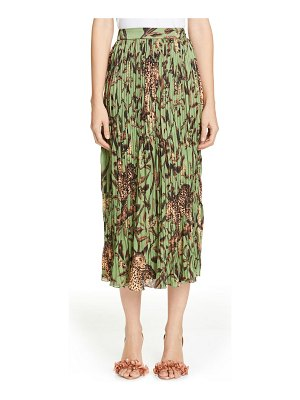 Johanna Ortiz jaguar print pleated midi skirt