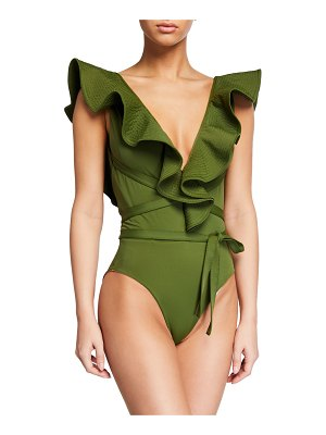Johanna Ortiz On The Shore Belted Ruffle One-Piece Swimsuit