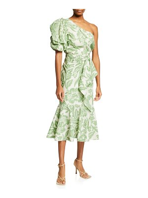 Johanna Ortiz Orchid Dance One-Shoulder Cotton Midi Dress