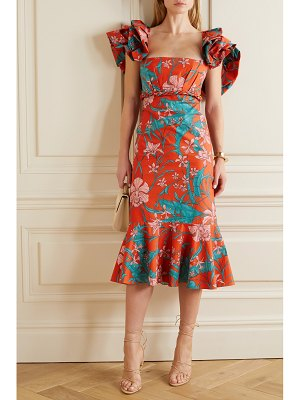 Johanna Ortiz ruffled floral-print cotton-poplin midi dress