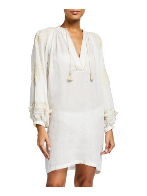 Johanna Ortiz Tapestry of Dreams Embroidered-Sleeve Mini Coverup Dress