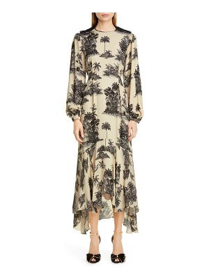Johanna Ortiz toile palm print long sleeve maxi dress