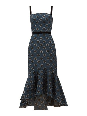 Johanna Ortiz vase-print canvas midi dress