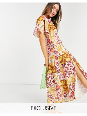 John Zack exclusive fluted sleeve midi dress in contrast floral-multi