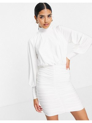 John Zack exclusive high neck ruched skirt detail mini dress in white