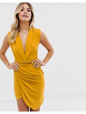 John Zack plunge front ruched mini dress in mustard-yellow