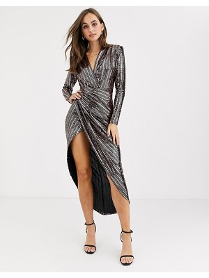 John Zack sequin wrap front maxi dress in rose gold-pink