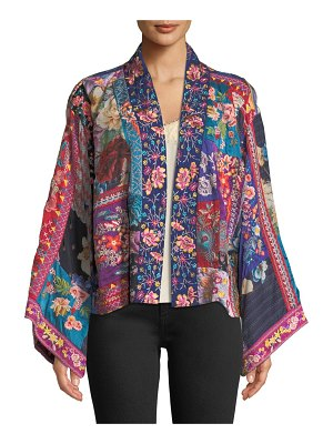 Johnny Was Adley Embroidered Silk Kimono Jacket