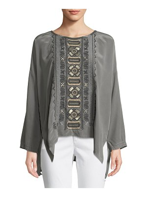 Johnny Was Alka Bateau-Neck Long-Sleeve High-Low Silk Blouse w/ Embroidery