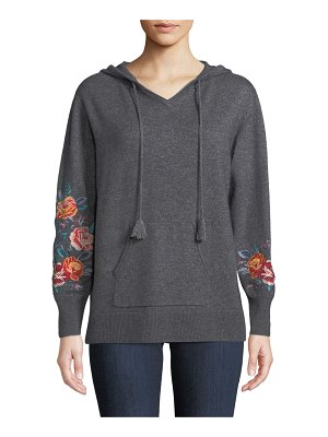 Johnny Was Amira Cashmere Embroidered-Sleeve Hoodie