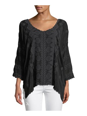 Johnny Was Analusia 3/4-Sleeve Embroidered Top