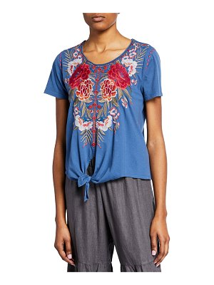 Johnny Was Burke Scoop-Neck Short-Sleeve Knot-Front T-Shirt