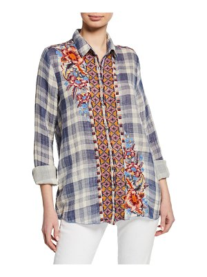 Johnny Was Caila Plaid Embroidered Button-Front Shirt