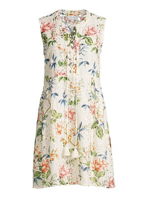 Johnny Was caprice floral lace-up mini dress