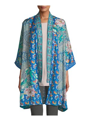 Johnny Was Coi Mixed-Print Silk Kimono Jacket