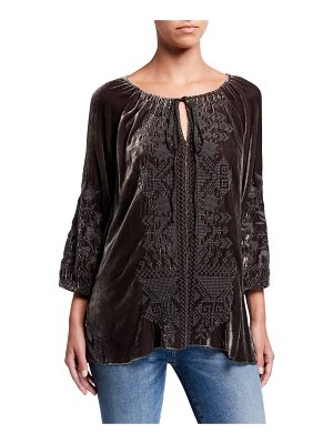 Johnny Was Daniella Embroidered Velvet Peasant Blouse