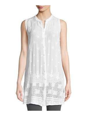 Johnny Was Darla Sleeveless Long Button-Front Tunic