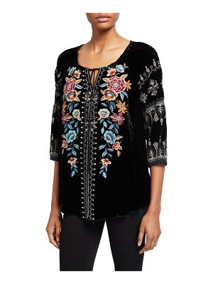 Johnny Was Elani Embroidered Velvet Peasant Blouse