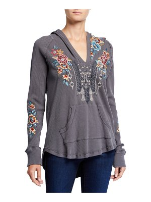 Johnny Was Embroidered Cotton Thermal Sweatshirt