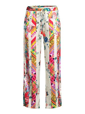 Johnny Was esplanad wide-leg floral silk trousers