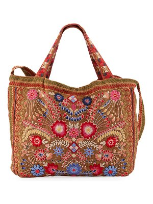 Johnny Was Frederique Embroidered Heavy Linen Tote Bag