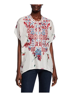 Johnny Was Idalina Printed Button-Front Short-Sleeve Embroidered Silk Top