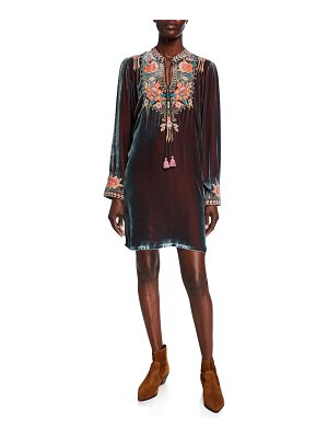 Johnny Was Maeve Floral Embroidered Long-Sleeve Velvet Trapunto Dress