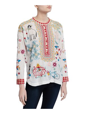 Johnny Was Mishti Embroidered Cotton Blouse