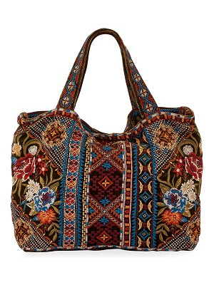 Johnny Was Naomi Multi Embroidered Velvet Tote Bag