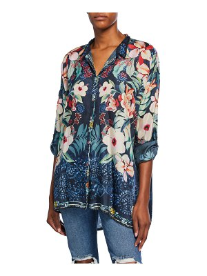 Johnny Was Nelia Floral-Print Button-Front Long-Sleeve Silk Shirt
