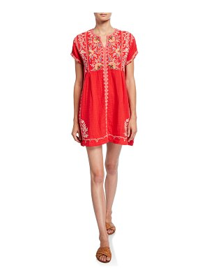 Johnny Was Uma Embroidered Short-Sleeve Gauze Tunic Dress