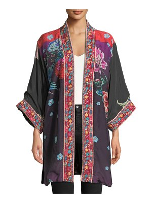 Johnny Was Vashti Printed Reversible Velvet Kimono Jacket