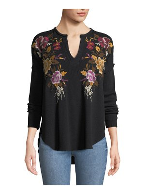 Johnny Was Zosia Floral-Embroidered Thermal Top