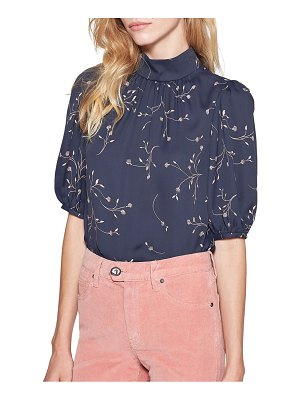 Joie Alfrie Embroidered Floral Puff-Sleeve Blouse