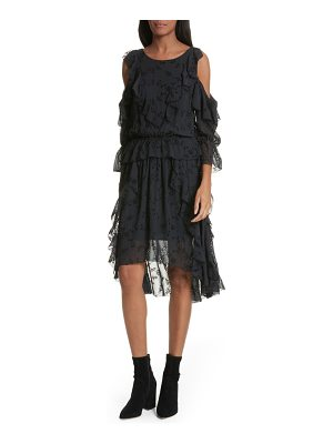 Joie alpheus cold shoulder ruffled silk dress