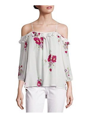 Joie Birtha Floral-Print Cold-Shoulder Silk Top