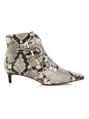 Joie calinda buckle snakeskin-embossed leather ankle boots