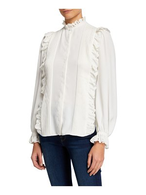 Joie Cheyanne Ruffle Pintuck Button-Down Blouse