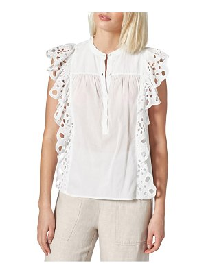 Joie coralia eyelet ruffle cotton top