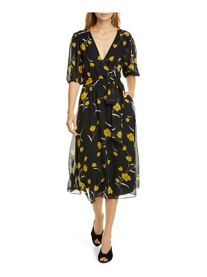 Joie ervina floral wrap front silk dress