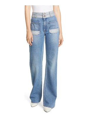 Joie gabriel high waist two-tone wide leg jeans