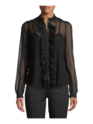 Joie Hatsu Lace Button-Front Ruffle Top
