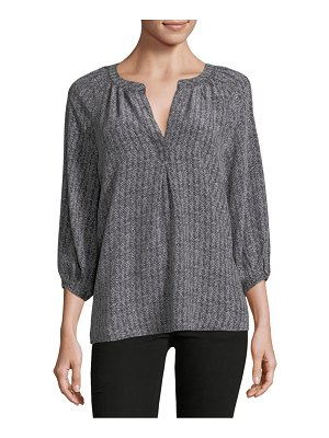 Joie Herringbone-Print Silk Top