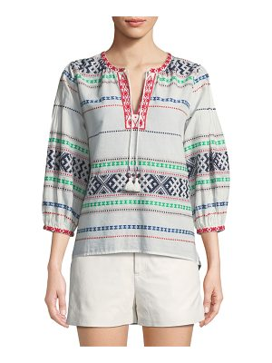 Joie Jenollina Embroidered V-Neck Top