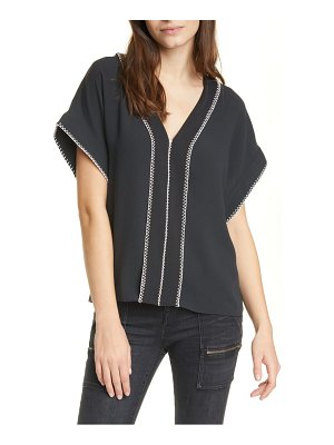 Joie maelie whipstitch detail crepe top