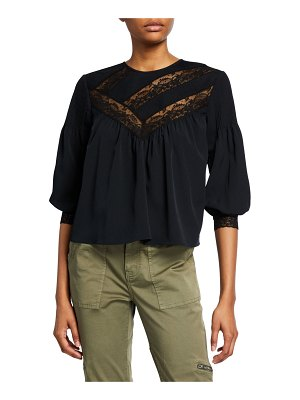 Joie Margette Yoked Button-Back Blouse w/ Lace Insets