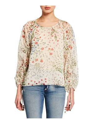 Joie Neema Ruched-Sleeve Floral-Print Top