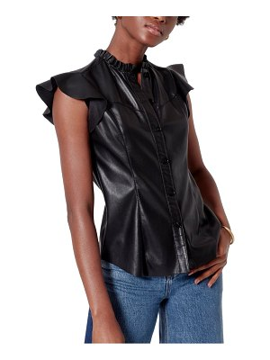 Joie orien faux leather blouse